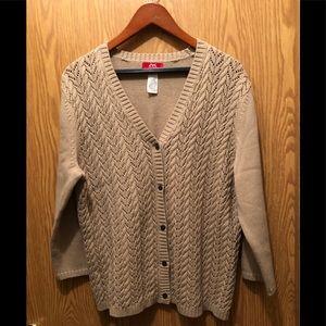 Anne Klein Sport Tan Cardigan Sweater Sz- XL